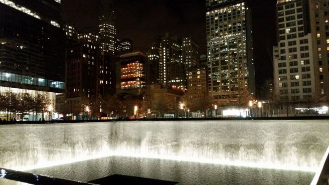 911 Memorial Pool at Night
